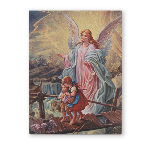 "Guardian Angel Textured Wood Print | 3"" x 4"""