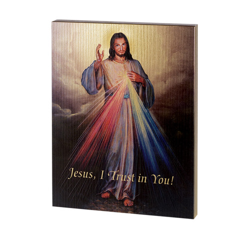 "Divine Mercy Textured Wood Print | 7 1/2"" x 10"""