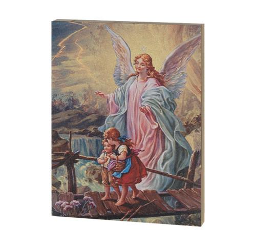 "Guardian Angel Textured Wood Print | 7 1/2"" x 10"""