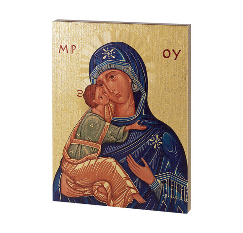 """Mother of God Textured Wood Print 