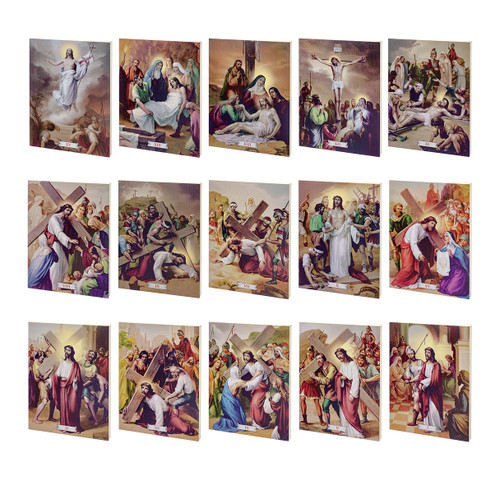 """Stations of the Cross (Set of 15) Textured Wood Print 