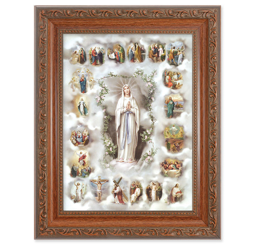 20 Mysteries of the Rosary Antique Mahogany Finish Framed Art