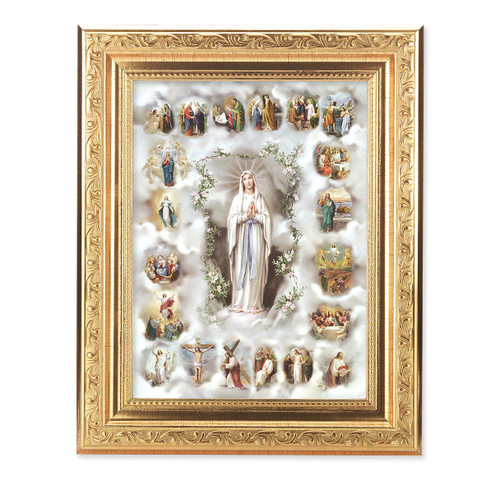 20 Mysteries of the Rosary Ornate Antique Gold Framed Art
