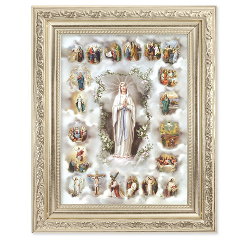 20 Mysteries of the Rosary Ornate Silver Framed Art