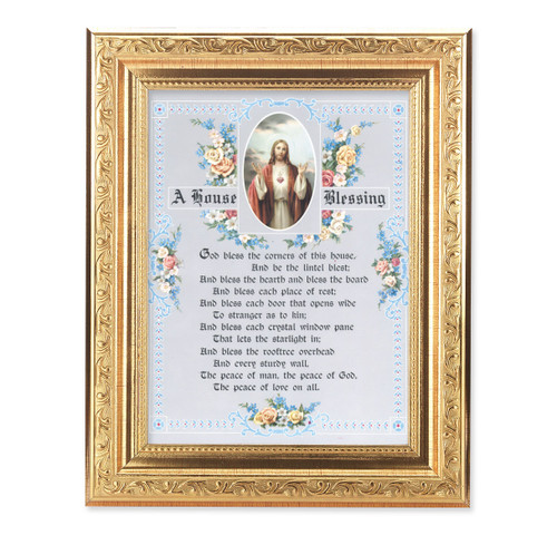 A House Blessing Ornate Antique Gold Framed Art