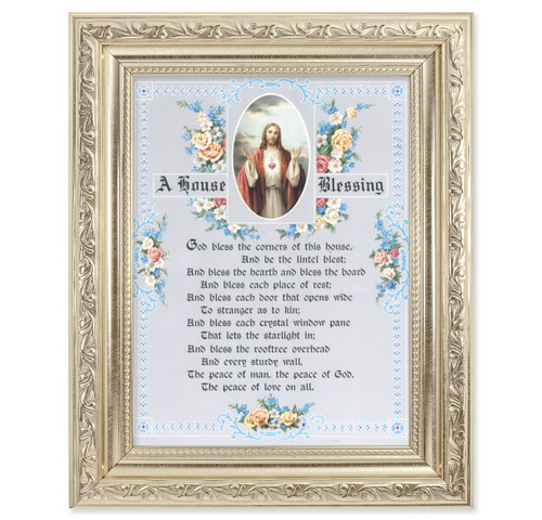 A House Blessing Ornate Silver Framed Art
