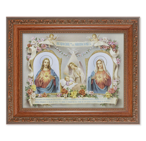 Baby Room Blessing SHJ-IHM (Spanish) Antique Mahogany Finish Framed Art