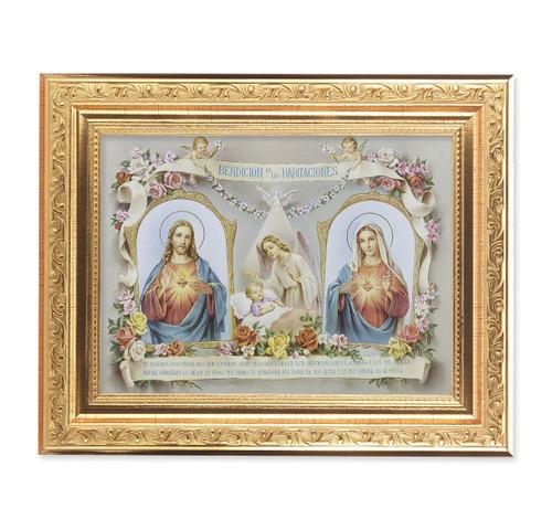 Baby Room Blessing SHJ-IHM (Spanish) Ornate Antique Gold Framed Art