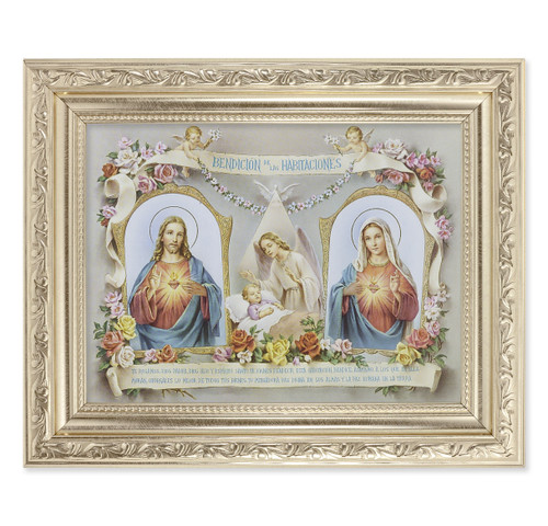 Baby Room Blessing SHJ-IHM (Spanish) Ornate Silver Framed Art