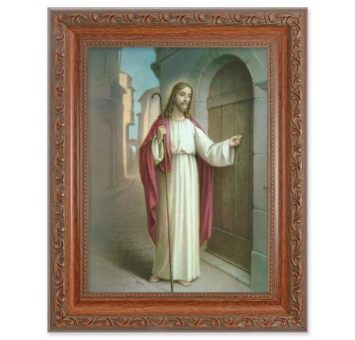 Christ Knocking Antique Mahogany Finish Framed Art