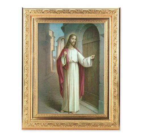 Christ Knocking Ornate Antique Gold Framed Art
