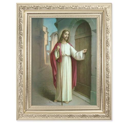 Christ Knocking Ornate Silver Framed Art
