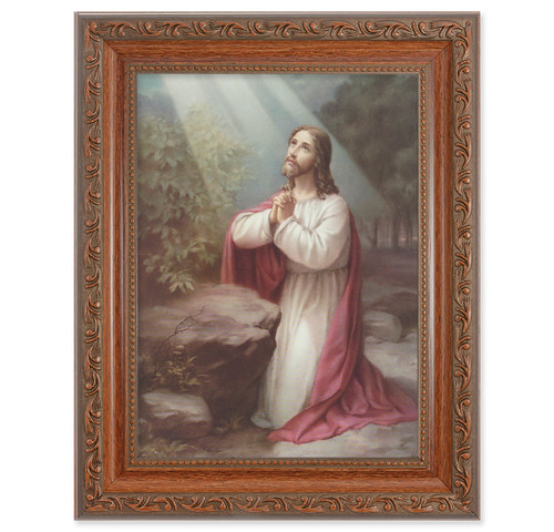 Christ on the Mount of Olives Antique Mahogany Finish Framed Art