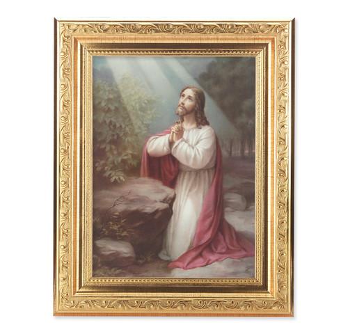 Christ on the Mount of Olives Ornate Antique Gold Framed Art