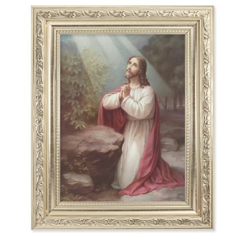 Christ on the Mount of Olives Ornate Silver Framed Art
