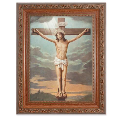 Crucifixion Antique Mahogany Finish Framed Art