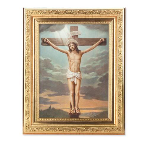 Crucifixion Ornate Antique Gold Framed Art