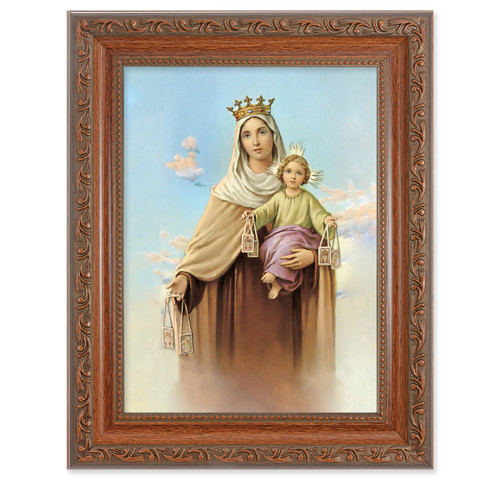Our Lady of Mount Carmel Antique Mahogany Finish Framed Art