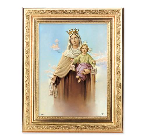 Our Lady of Mount Carmel Ornate Antique Gold Framed Art