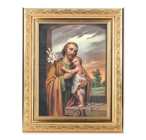 St. Joseph Ornate Antique Gold Framed Art | Style B