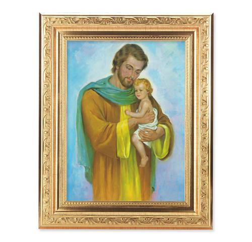 St. Joseph Ornate Antique Gold Framed Art