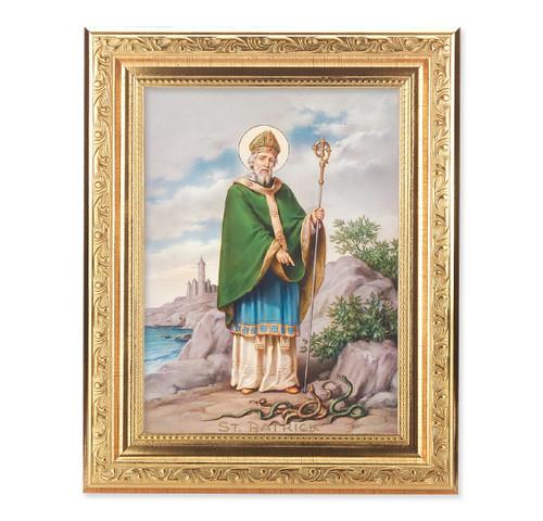 St. Patrick Ornate Antique Gold Framed Art