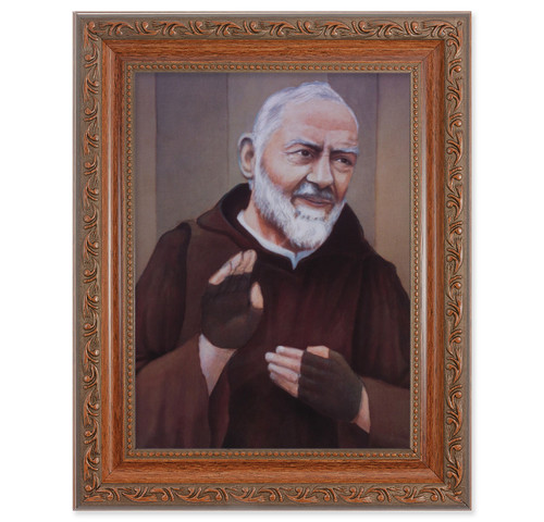 St. Pio Antique Mahogany Finish Framed Art
