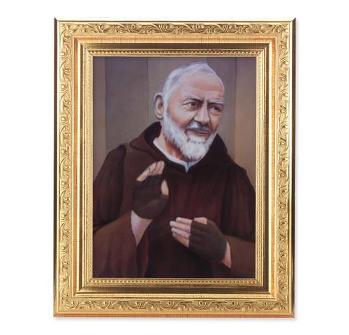 St. Pio Ornate Antique Gold Framed Art