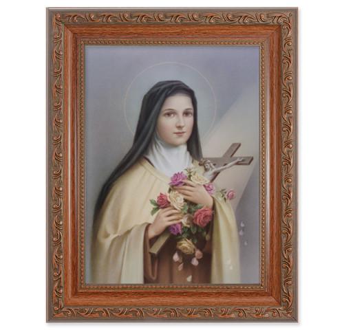 St. Therese Antique Mahogany Finish Framed Art