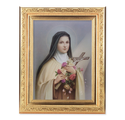 St. Therese Ornate Antique Gold Framed Art