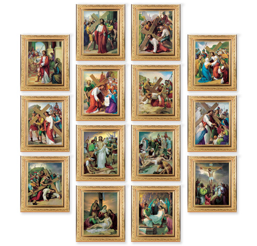 Stations of the Cross Ornate Antique Gold Framed Canvas