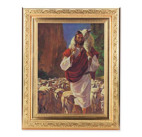 The Good Shepherd Ornate Antique Gold Framed Art