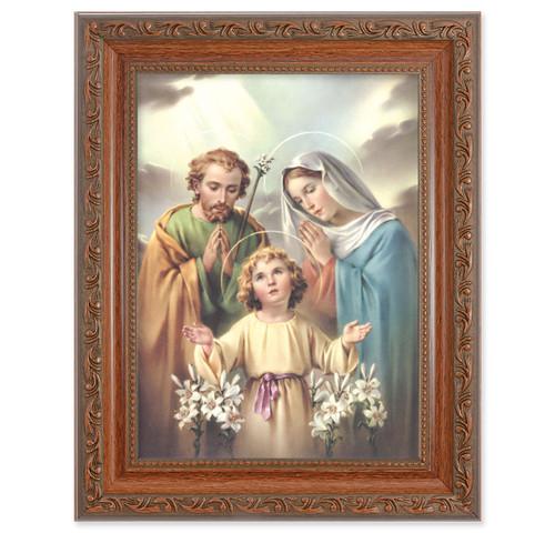 The Holy Family Antique Mahogany Finish Framed Art | Style A