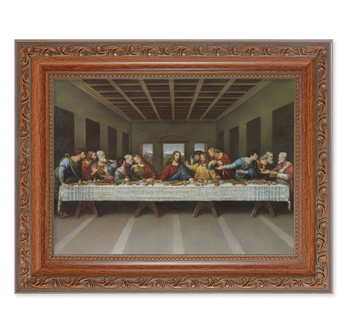 The Last Supper Antique Mahogany Finish Framed Art | Style A