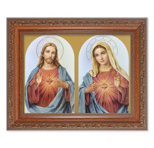 The Sacred Hearts Antique Mahogany Finish Framed Art | Style A
