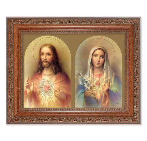 The Sacred Hearts Antique Mahogany Finish Framed Art | Style B