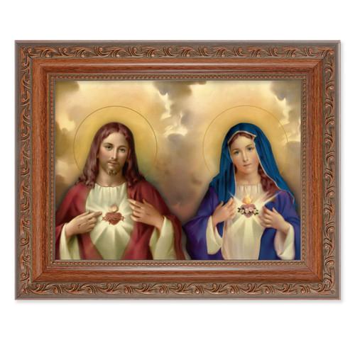 The Sacred Hearts Antique Mahogany Finish Framed Art