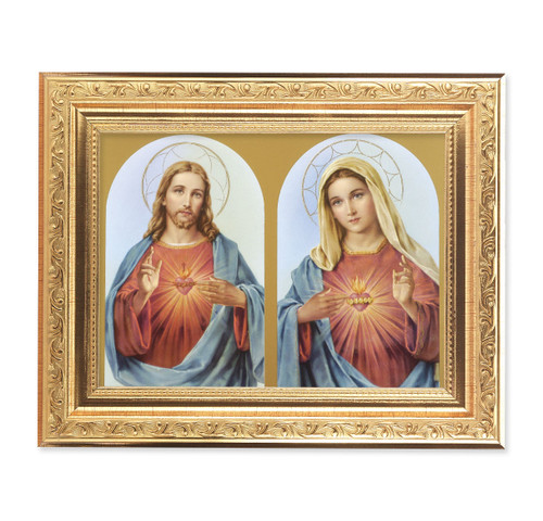 The Sacred Hearts Ornate Antique Gold Framed Art | Style A