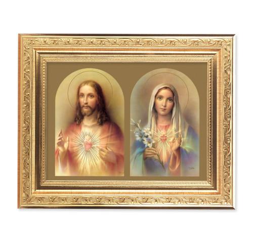 The Sacred Hearts Ornate Antique Gold Framed Art | Style B