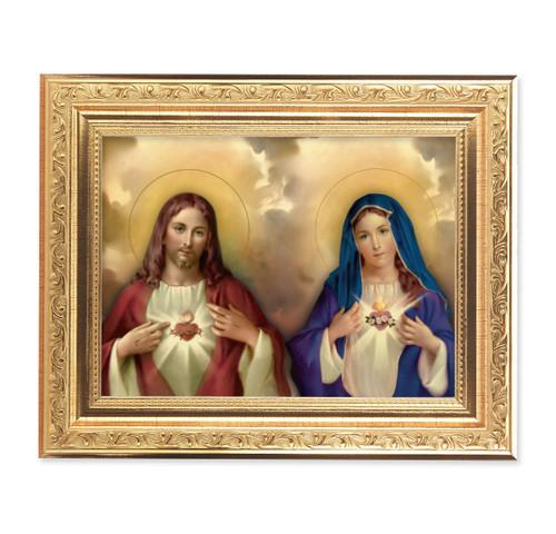 The Sacred Hearts Ornate Antique Gold Framed Art