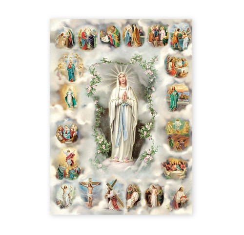 20 Mysteries of the Rosary Italian Lithograph Poster