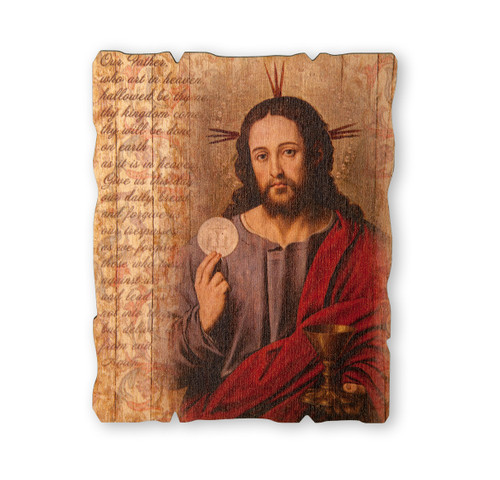 "Christ with Host Wood Wall Plaque | 5"" x 4"""