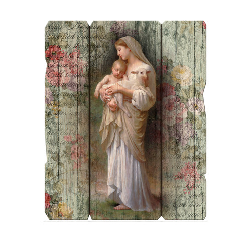 """Our Lady of Divine Innocence Wood Wall Plaque 