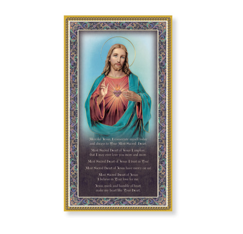 Sacred Heart of Jesus Gold Foil Wood Plaque