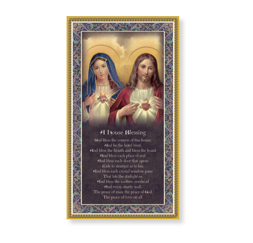 Sacred Hearts - House Blessing Gold Foil Wood Plaque