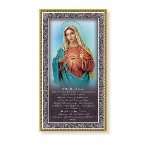 Immaculate Heart of Mary Gold Foil Wood Plaque