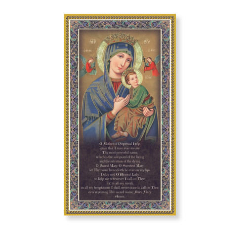 Our Lady of Perpetual Help Gold Foil Wood Plaque