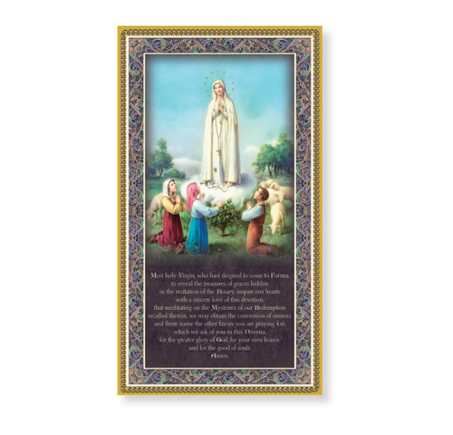 Our Lady of Fatima Gold Foil Wood Plaque