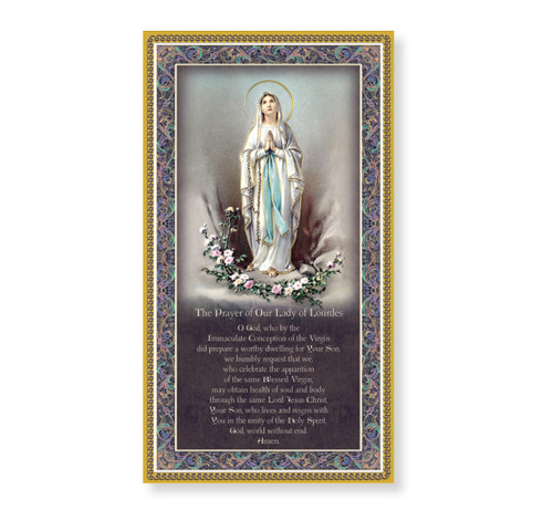 Our Lady of Lourdes Gold Foil Wood Plaque