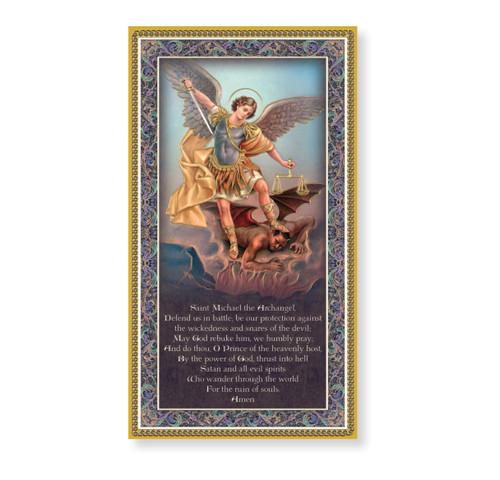 St. Michael Gold Foil Wood Plaque